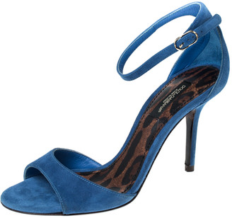 Dolce & Gabbana Blue Suede Open Toe Ankle Strap Sandals Size 36