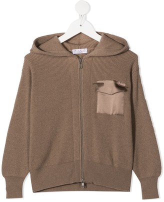 BRUNELLO CUCINELLI KIDS Ribbed-Knit Cashmere Hoodie