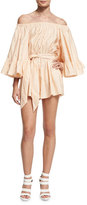 Cameo Star Eyes Off-The-Shoulder Romper, Dust