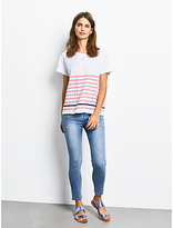 Hush Boxy Striped Slub T-Shirt, White/Strawberry Pink/Navy