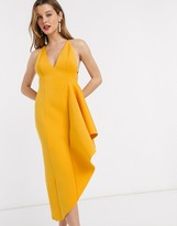 Asos Design DESIGN plunge side pep hem midi dress in mustard