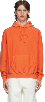 Awake NY Orange Embroidered Logo Hoodie