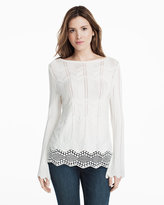 White House Black Market Bell Sleeve Woven Back Embroidered Sweater