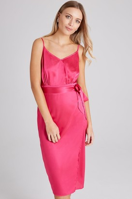 Girls On Film Nava Pink Satin Slip Dress