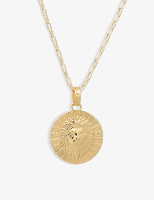 Rachel Jackson Zodiac Art Coin Leo long 22ct gold-plated sterling silver necklace