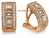 TheJewelryMaster Princess and Round Diamond Huggie Earrings 18K Rose Gold (1.00ct)