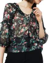MANGO Ruffled Floral-Print Blouse