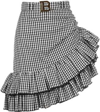 Balmain Asymmetric Ruffled Mini Skirt