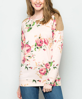 Pink Floral French Terry Cold-Shoulder Pullover