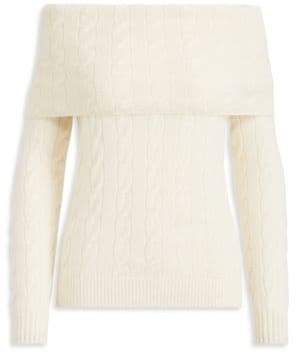 Ralph Lauren Cable-Knit Cashmere Off-The-Shoulder Sweater