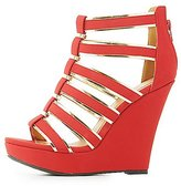 Charlotte Russe Gold-Trim Caged Wedge Sandals