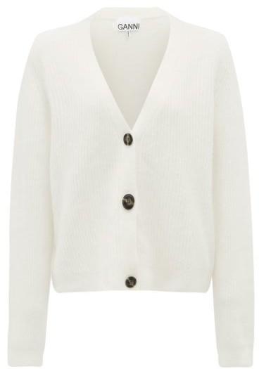 Ganni V-neck Ribbed-knit Cardigan - Ivory