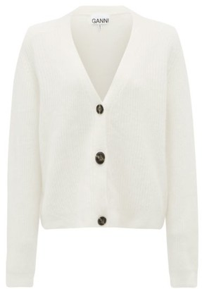 Ganni V-neck Ribbed-knit Cardigan - Ivory