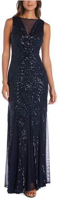 Night Way Nightway Illusion-Trim Sequin Gown