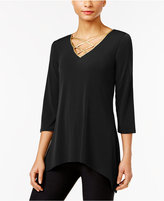 NY Collection Asymmetrical Lace-Up Top