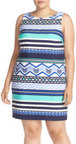 Eliza J Print Jersey Sleeveless Popover Sheath (Plus Size)