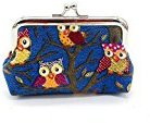 AutumnFall Fashion Women Lovely Style Lady Small Wallet Hasp Owl Purse Clutch Bag (Deep Blue)