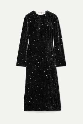Miu Miu Open-back Crystal-embellished Crushed-velvet Midi Dress - Black