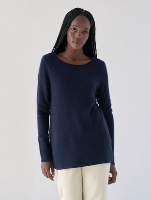 White + Warren Cashmere Side Split Open Crewneck