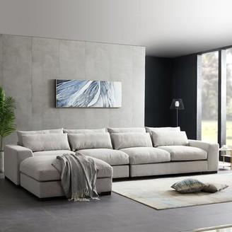 Latitude Run Avaa 77.5'' Left Hand Facing Modular Sofa & Chaise with Ottoman