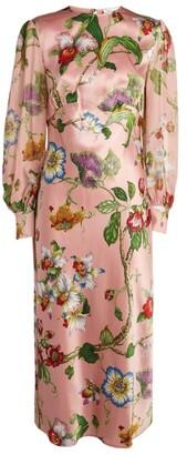 Olivia von Halle Silk Aureta Floral Midi Dress