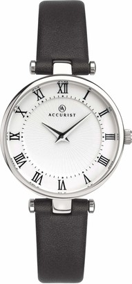 Accurist Accuirst Womens Japanese Quartz Watch With Luxury Leather Strap Roman Numeral Dual Layer Dial 30m Water Resistant 8205