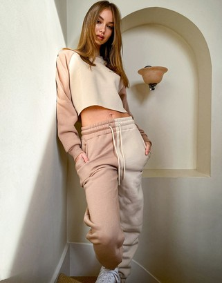 Bershka bi-colour slogan oversized jogger co-ord in beige
