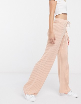 In The Style x Lorna Luxe lullaby ribbed wide leg pants two-piece in blush