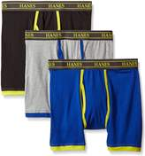 Hanes Men's Ultimate 3 Pack Stretch Boxer Briefs with Spun Cotton Wicks