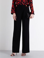 Givenchy Velvet-detail wide high-rise wool trousers