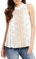 Miss Me High Neck Embroidered Crochet Tank Top