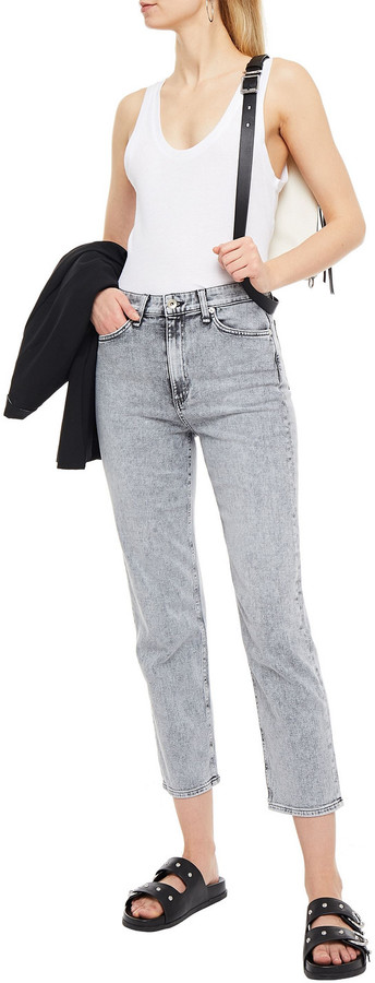Thumbnail for your product : Rag & Bone Nina Cropped Faded High-rise Slim-leg Jeans