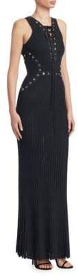 Elie Saab Lace-Up Ribbed Maxi Dress