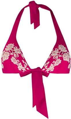 Carine Gilson Lace Applique Bikini Top