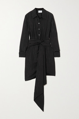 Redemption Draped Belted Striped Crepe Mini Shirt Dress - Black