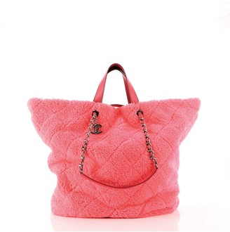 Chanel CC Charm Shopping Tote Quilted Mixed Fibers Large