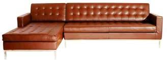 Kardiel Midcentury Florentine Premium Aniline Leather Sectional, Caramel, Left