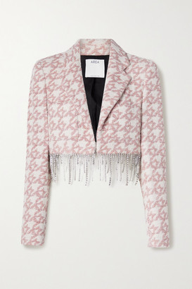 Area Cropped Crystal-embellished Metallic Houndstooth Tweed Blazer - Pink