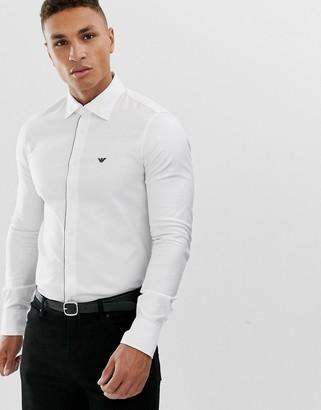 Emporio Armani contrast logo long sleeve shirt with detachable collar in white
