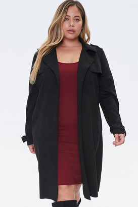 Forever 21 Plus Size Faux Suede Duster Jacket