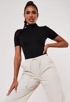 Missguided Black High Neck Panelled Bodysuit