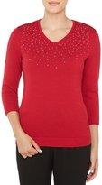 Allison Daley Petites Embellished V-Neck Solid Pullover