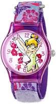 Disney Kids' W001254 Tween Tinker Bell Plastic Watch, Stretch Nylon Strap, Analog Display, Analog Quartz, Purple Watch