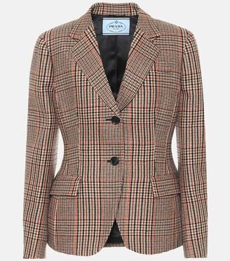Prada Houndstooth wool and cashmere blazer