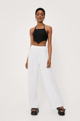 Nasty Gal Womens Lookin' Like a Vision Linen Wide-Leg Pants - White