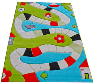 """Ivi Playway Turquoise Soft Nursery Rug with a Playful Design for Kids Bedrooms and Playrooms, Non-Toxic, Hypo-Allergenic, 90""""L x 63""""W Playmat"""