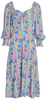 Faithfull The Brand Mathilde Balloon-Sleeve Floral Midi Dress