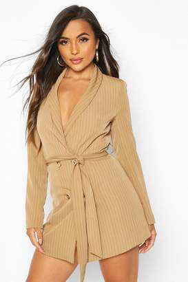 boohoo Petite Striped Double Breasted Belted Blazer Dress