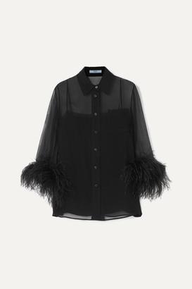 Prada Feather-trimmed Silk-georgette Blouse - Black