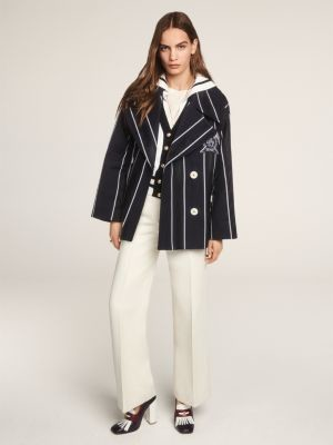 Tommy Hilfiger Crest Stripe Double Breasted Oversized Peacoat